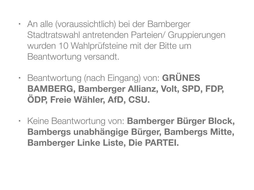 Wahlprüfsteine zur Bamberger Stadtratswahl am 15. März 2020 S. 2